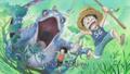 One day Luffy et Ace fuient un lézard géant