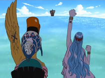 Vivi and Carue say goodbye to the Straw Hats