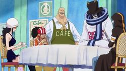 Law, Caesar, Usopp y Robin disfrazados