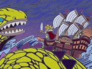 La expedicion se encuentra con un monstruo marino