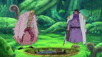 Fujitora uses attraction Law and Doflamingo