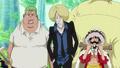 Drip (centre) en compagnie de Manjaro (gauche) et Luffy (droite)