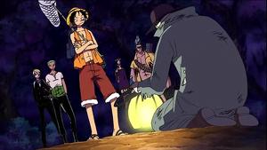 Luffy hablando con Spoil