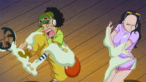 Usopp and Robin Trapped in Peseta's Adhesive