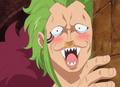 Bartolomeo intimidé par Luffy