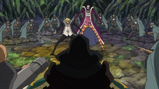 Los Piratas Firetank capturan a Sanji y a Brook