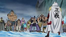 Akainu vs Crocodile et les commandants de Barbe Blanche