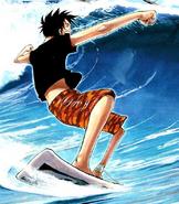 Rozdział 194 Luffy serfuje w czarnyej koszulce i pomarańczowo-czerwonych spodenkach