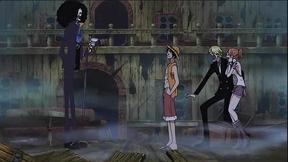 Luffy invitando a Brook a su tripulación
