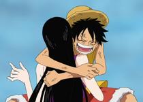 Luffy abrazando a Hancock