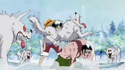 Luffy atacando a unos lobos