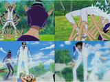 Monkey D. Luffy, Roronoa Zoro, Sanji i Nico Robin kontra Kuzan