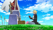 Sabo talks to Ace's Gravestone