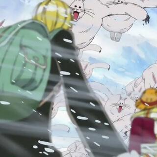 Luffy, Nami und Sanji werden von Lapins angegriffen.