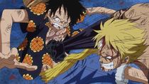 Bellamy Punches Luffy with Haki
