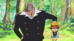 Garp Levando Luffy para viver com Dadan