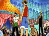 Monkey D. Luffy, Roronoa Zoro, Sanji i Tony Tony Chopper kontra rodzina Franky'ego
