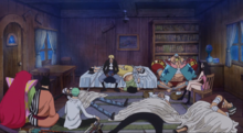 Los combatientes descansando en la casa de Kyros