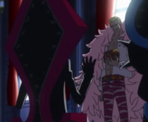 Doflamingo transmits fruit Mera Mera no Mi Diamante