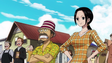 Makino y Woop Slap observando a Luffy partir
