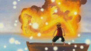 Luffy en el funeral de Merry