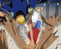 Bellamy Smashes Luffy into the Bar Counter