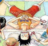 Rozdział 284 Luffy w pomarańczowym podkoszulku śpi na kolorowym dywanie