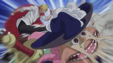 Sanji golpea a Bobbin