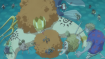 Brook, Neptune, Usopp, and Zoro Captured by the New Fish-Man Pirates
