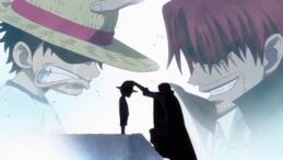 Shanks donne le Chapeau de Paille à Luffy
