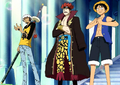 Luffy, Kid et Law affrontent les Marines