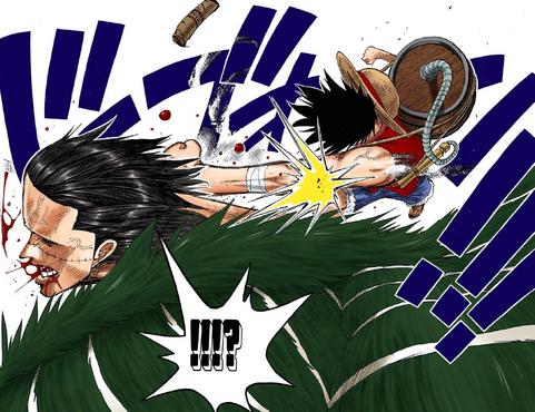 Luffy logra golpear a Crocodile