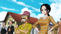 Makino and Woop Slap at Luffy's Departure