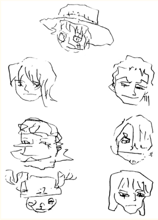 Mugiwaras dibujados por la boca de Oda