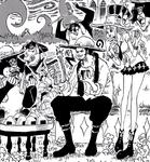 Mihawk, Perona and Humandrills eating Onigiri