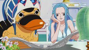 Vivi leyendo noticias de Luffy