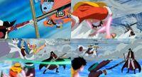 Luffy jinbe buggy vs mihawk