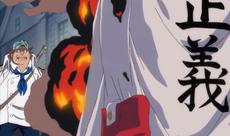 Sakazuki a punto de ejecutar a un desertor
