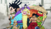 Le groupe de Luffy à Udon