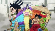 Le groupe de Luffy à Udon