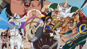 Luffy and the Corrida Colosseum Gladiators Going After Doflamingo