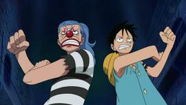 Buggy y Luffy en Impel Down