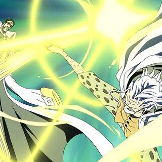 Rayleigh blockiert Kizarus Angriff auf Zoro.