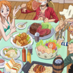 Straw Hats Eating Meat
