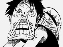 Luffy avec des bâtons dans le nez