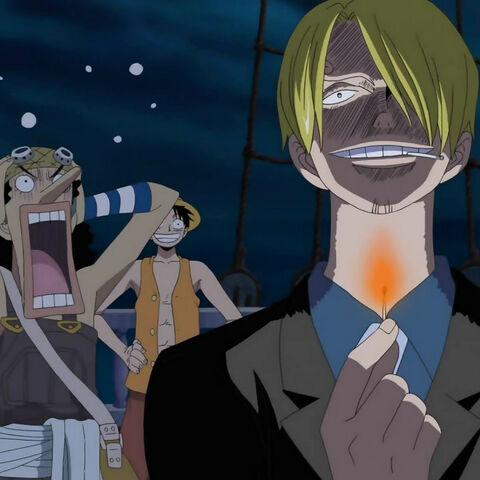 Sanji ängstigt Usopp vor Gespenstern im Florian Triangle.