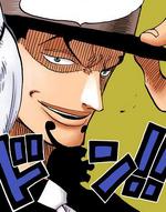 Lucci sonriendo a Luffy