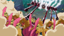 Luffy attacks Cracker