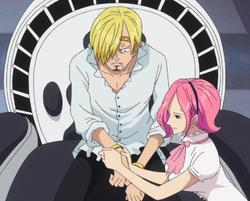 Reiju mette bracciali a Sanji