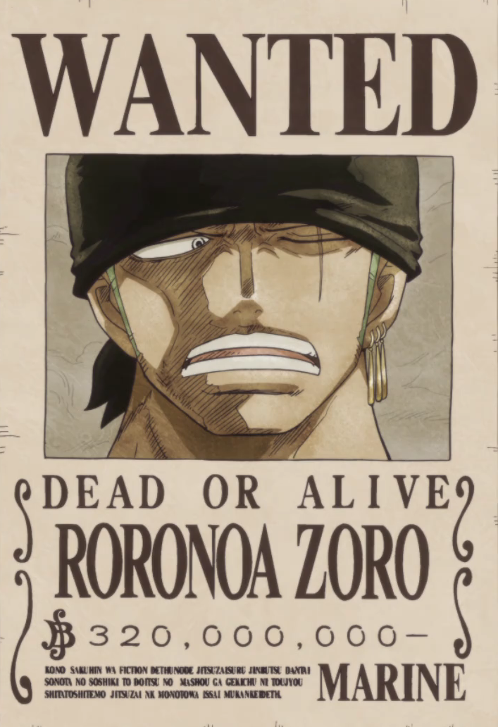 Roronoa Zoro's Current Wanted Poster